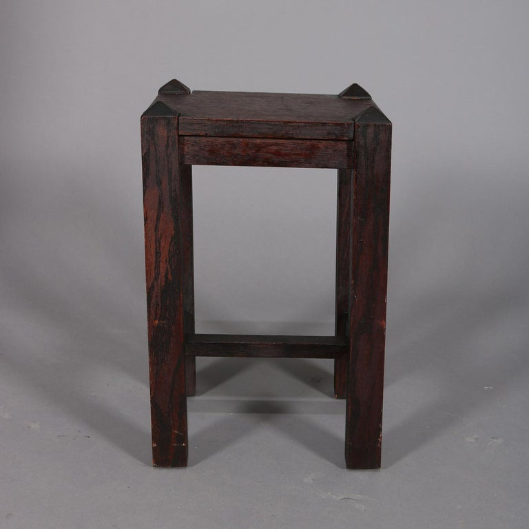 20th Century Antique Arts & Crafts Stickley School Mission Oak Plant Stand, circa 1910 For Sale