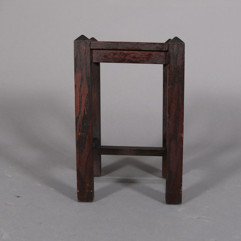 Antique Arts & Crafts Stickley School Mission Oak Plant Stand, circa 1910 For Sale 2