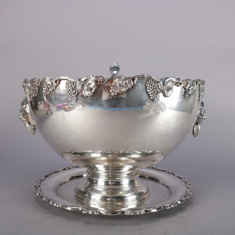 American Antique Victorian Grape & Leaf Silverplate Punch Bowl and Cup Set by Oneida For Sale