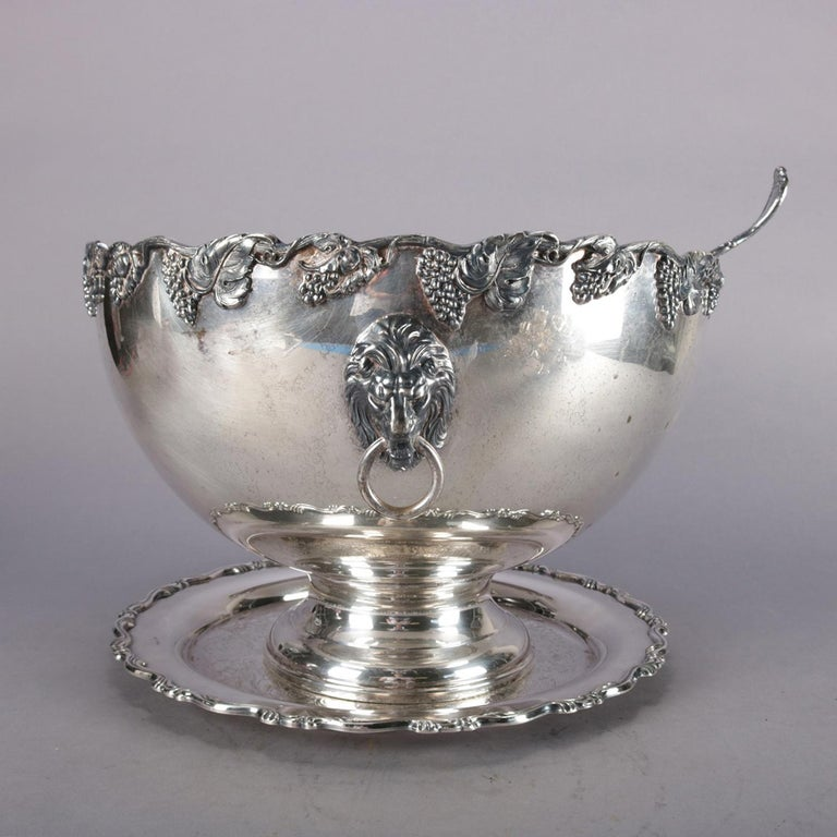Antique Victorian Grape & Leaf Silverplate Punch Bowl and Cup Set by Oneida In Good Condition For Sale In Big Flats, NY