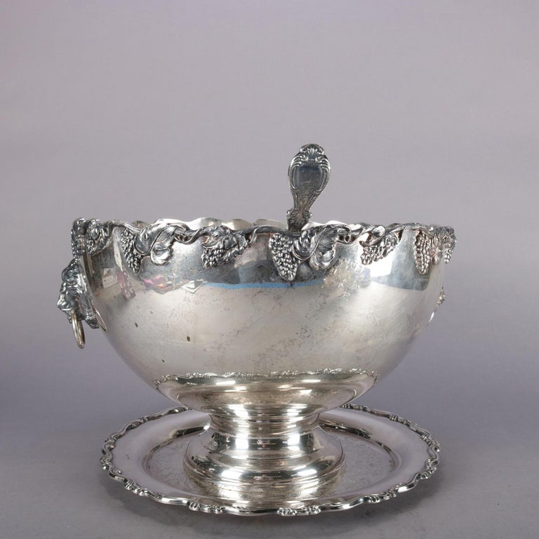 20th Century Antique Victorian Grape & Leaf Silverplate Punch Bowl and Cup Set by Oneida For Sale