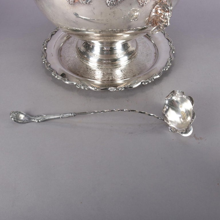 Antique Victorian Grape & Leaf Silverplate Punch Bowl and Cup Set by Oneida For Sale 3