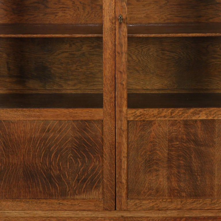 20th Century Antique Arts & Crafts Stickley School Mission Oak Two-Door China Cabinet For Sale