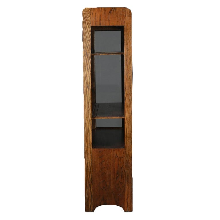 American Antique Arts & Crafts Stickley School Mission Oak Two-Door China Cabinet For Sale