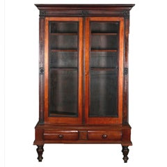 Antique Eastlake Mahogany Two-Door Bookcase, circa 1910