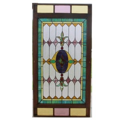 Monumental Arts & Crafts Mosaic Leaded Stained & Slag Glass Window, circa 1900