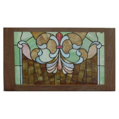 Antique Arts & Crafts Mosaic Leaded Glass Window, Stylized Fleur-de-Lis