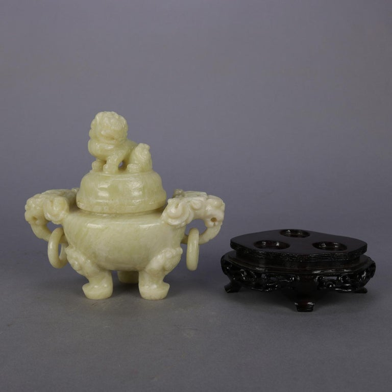 Chinese Figural Carved Soapstone Covered Censer with Foo Dog and Elephants For Sale 7