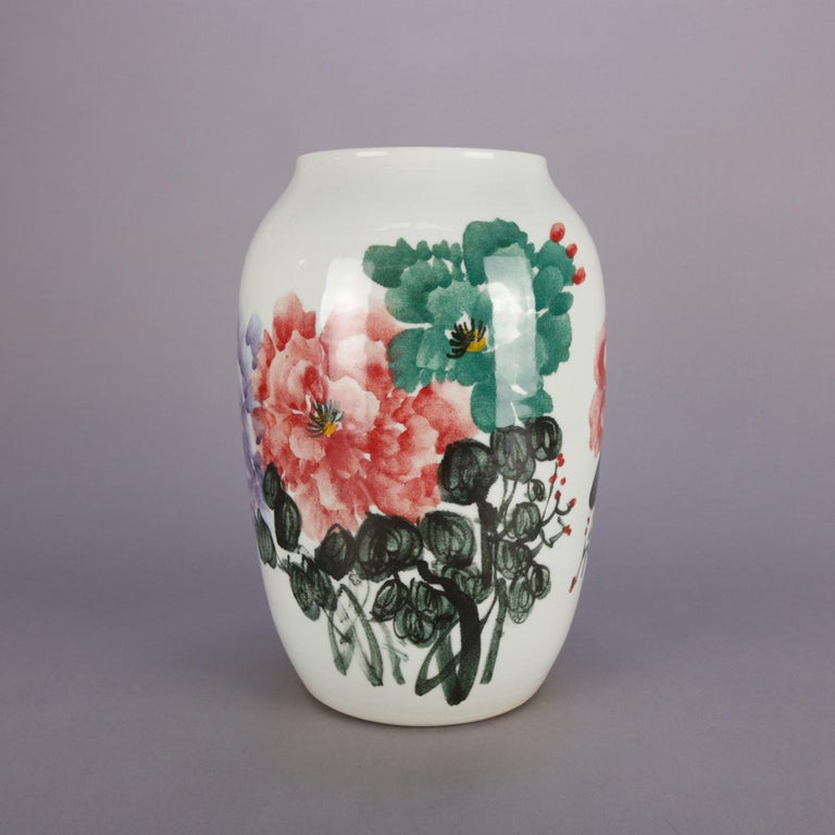 Chinese Hand Painted Floral Porcelain Vase Chop Mark Signed 20th
