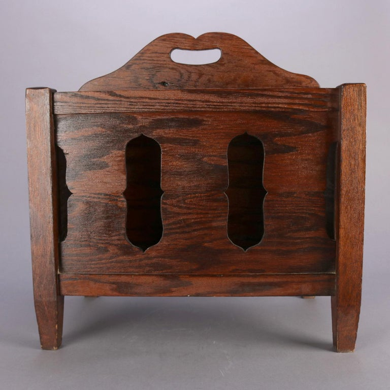 Arts and Crafts Arts & Crafts Stickley School Mission Oak Divided & Cutout Magazine Rack For Sale