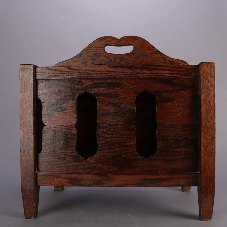 American Arts & Crafts Stickley School Mission Oak Divided & Cutout Magazine Rack For Sale