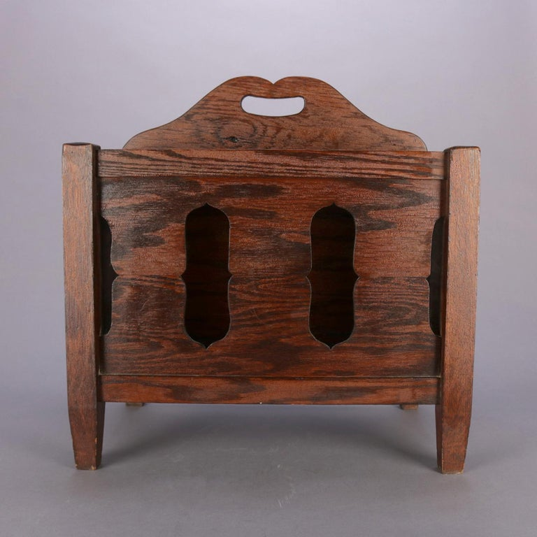 Arts & Crafts Stickley School Mission Oak Divided & Cutout Magazine Rack In Good Condition For Sale In Big Flats, NY