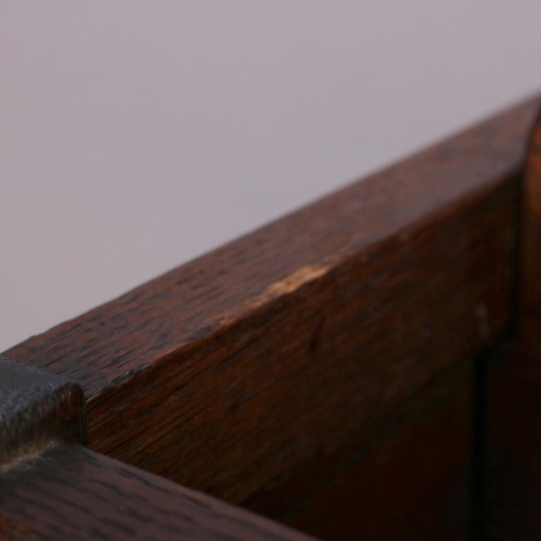 Arts & Crafts Stickley School Mission Oak Divided & Cutout Magazine Rack For Sale 3