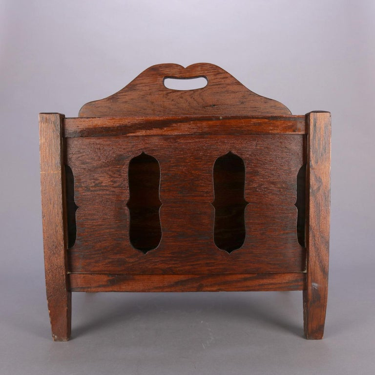 20th Century Arts & Crafts Stickley School Mission Oak Divided & Cutout Magazine Rack For Sale