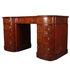 Antique English Regency Flame Mahogany Executive Campaign Desk, circa 1830