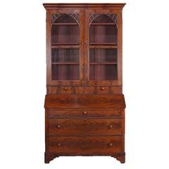 Antique American Empire Flame Mahogany Bookcase Secretary, circa 1840