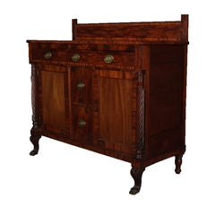 Antique American Empire Flame Mahogany and Bronze Sideboard, circa 1830