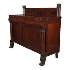 Antique American Empire Quervelle School Flame Mahogany Sideboard, circa 1830