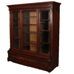 Antique and Large Eastlake Carved Walnut and Burl 3-Door Executive Bookcase