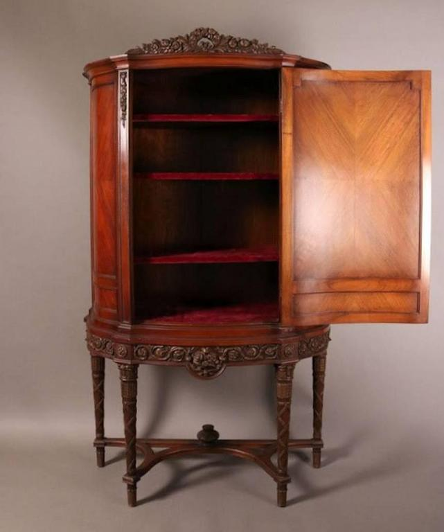 French Mahogany Louis XVI Style Blind Door China Cabinet Features Good  Original Finish With Neoclassical Angelic