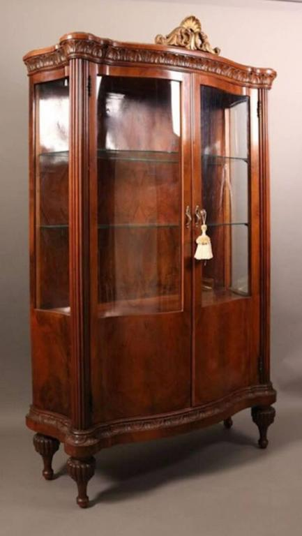 Antique French Style Mahogany Cerpentine China Cabinet (Vitrine). This  Double Door Serpentine Vitrine