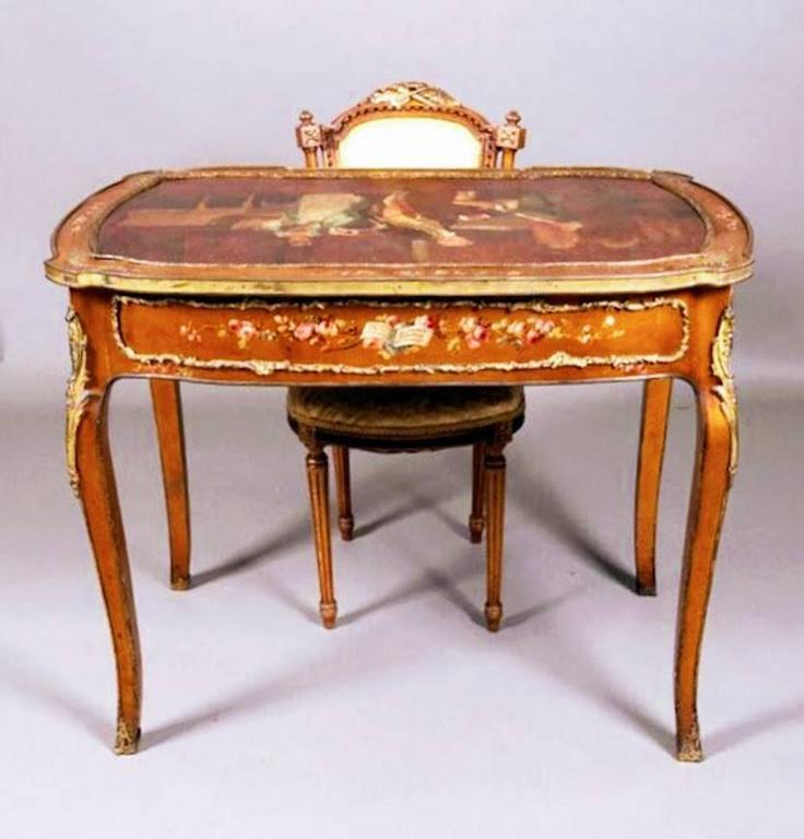 Antique Louis XIV Style Gold Gilt Vernis Martin Ladies Writing Desk, circa  1880 3 - Antique Louis XIV Style Gold Gilt Vernis Martin Ladies Writing