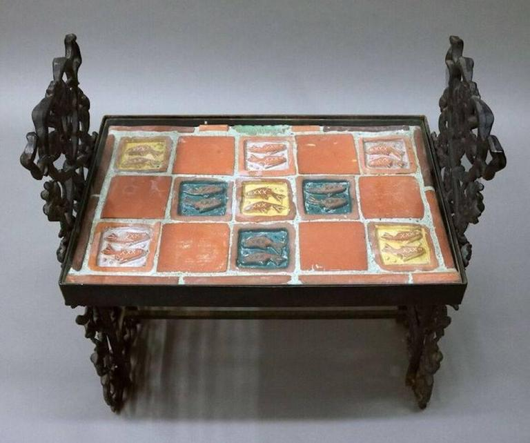 Arts And Crafts Fish Design Tile Top Moravian Table On
