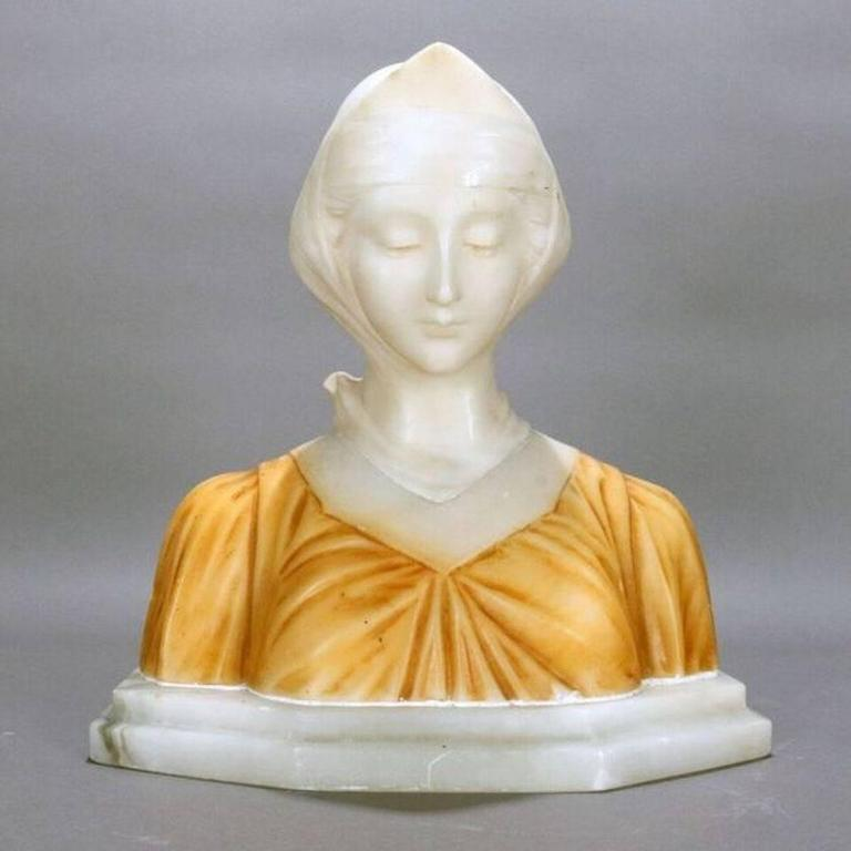 Antique Italian classical carved two-toned alabaster bust depicts highly detailed bust of  Beatrice, from Dante's Divina Comedia, circa 1880.