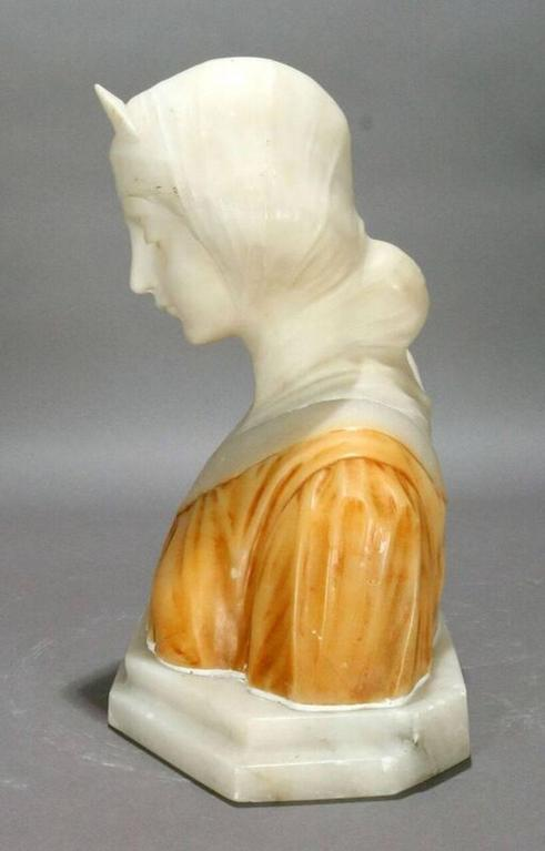 19th C Italian Classical Carved Alabaster Bust  Beatrice, Dante's Divina Comedia In Good Condition For Sale In Big Flats, NY