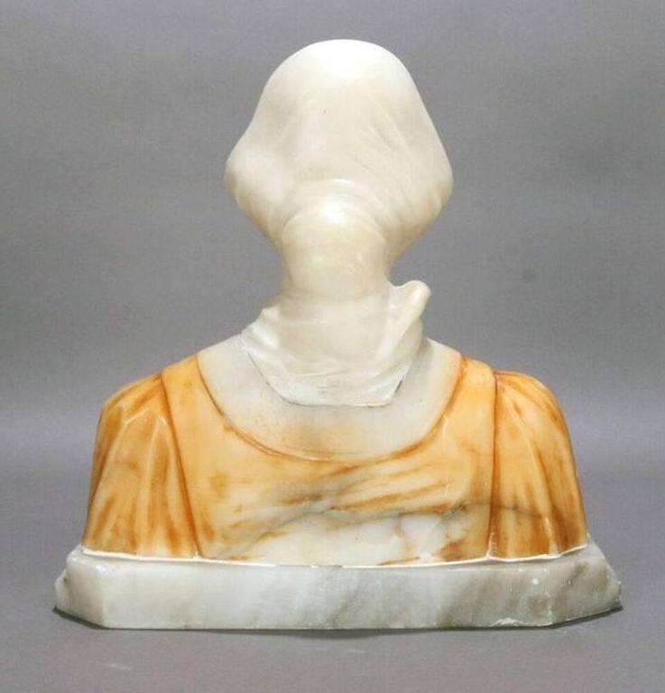 19th Century 19th C Italian Classical Carved Alabaster Bust  Beatrice, Dante's Divina Comedia For Sale