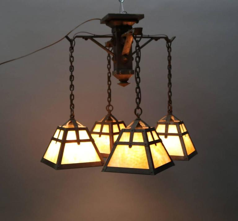Antique Arts and Crafts Four Arm Chandelier with Slag