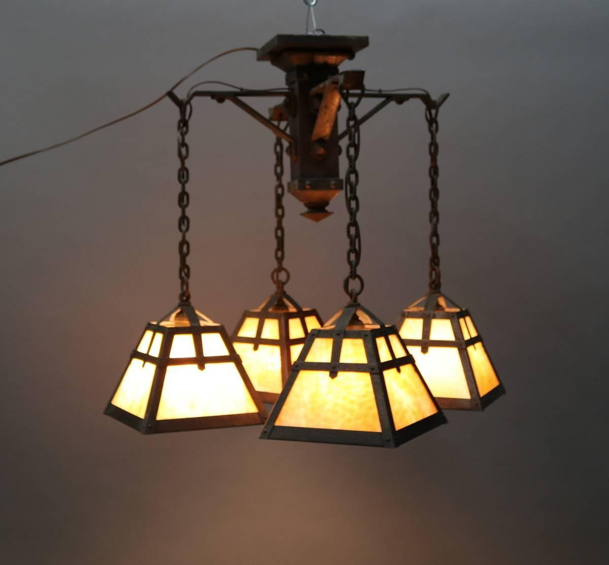 Antique arts and crafts four arm chandelier with slag for Arts and crafts chandelier