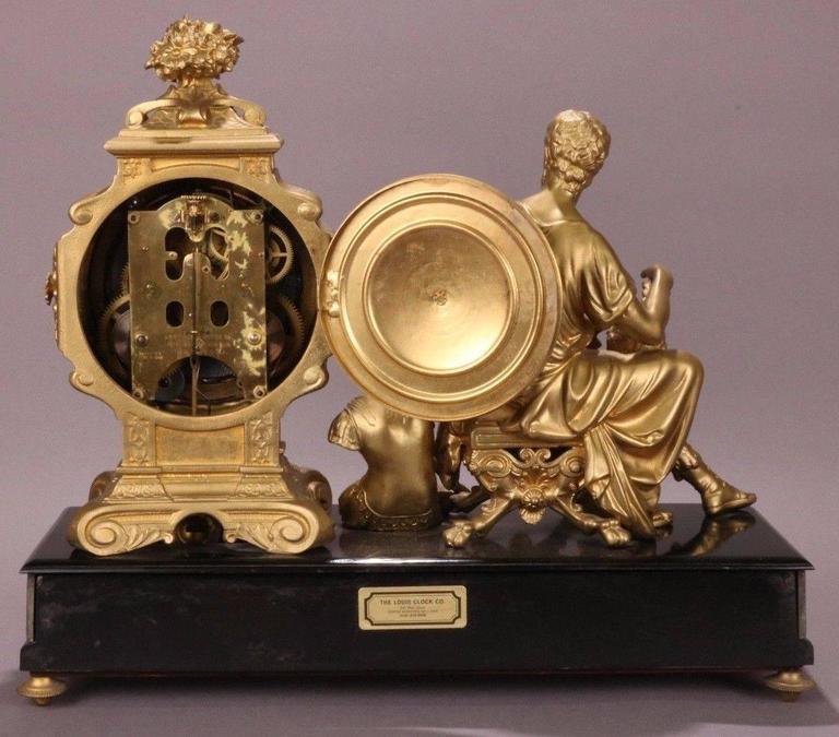 Antique Ansonia Bronzed White Metal Figural Mantel Clock