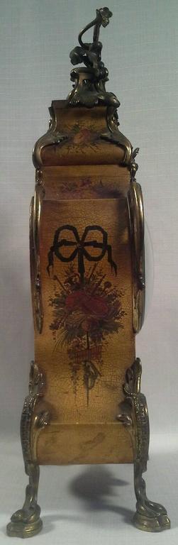 Antique Louis Xiv Vernis Martin Mantel Clock Circa 1880