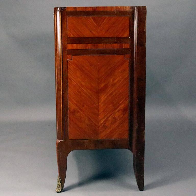 19th Century Antique French Louis XVI Mahogany, Kingwood & Marble Butler with Bronze For Sale