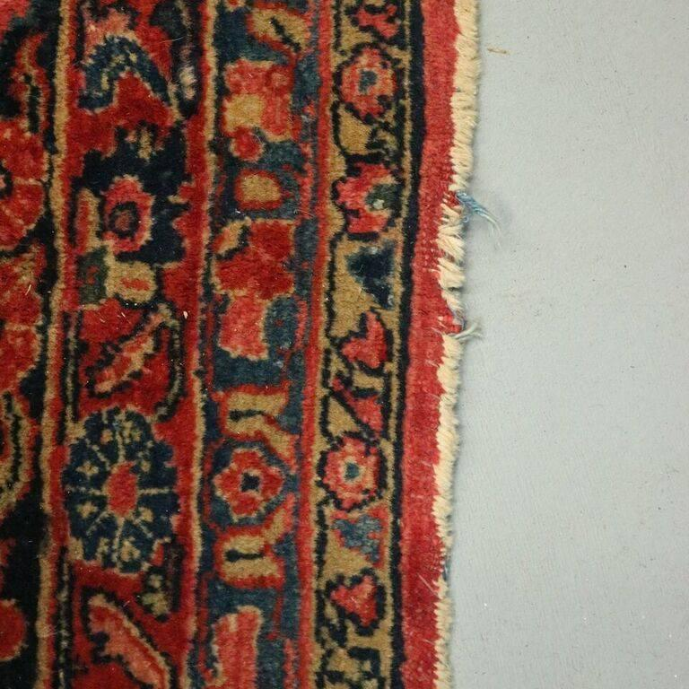 Antique Hand Knotted Persian Sarouk Carpet Circa 1930 At