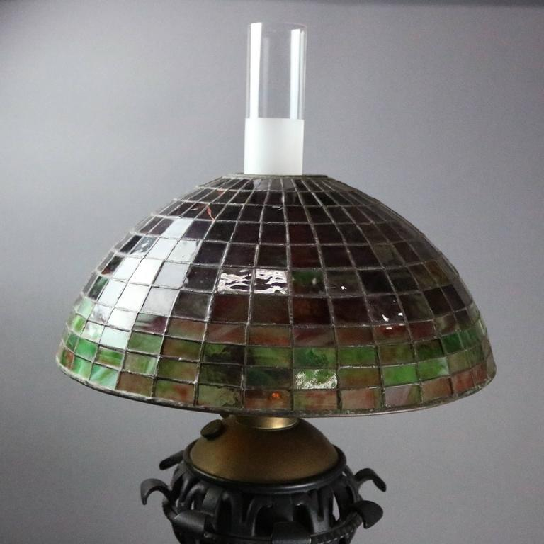 Arts & Crafts Bradley Hubbard Style Leaded Glass and Iron Table Lamp, circa 1910 3