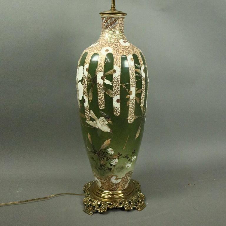 Oversized Antique Japanese Meiji Satsuma Art Pottery Lamp Base, circa 1900 For Sale 3