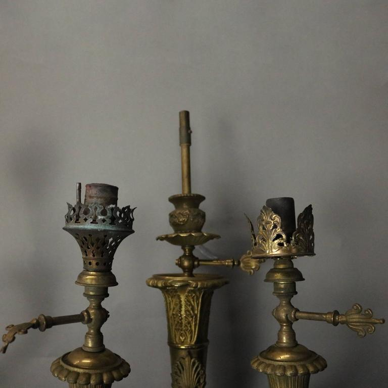 Antique Gas Wall Sconces : Pair of Antique French Neoclassical Style Brass 3-Light Gas Wall Sconces, c1870 For Sale at 1stdibs