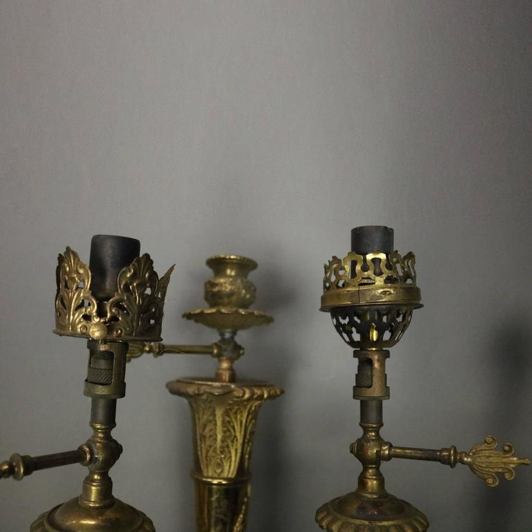 Pair of Antique French Neoclassical Style Brass 3-Light Gas Wall Sconces, c1870 For Sale at 1stdibs