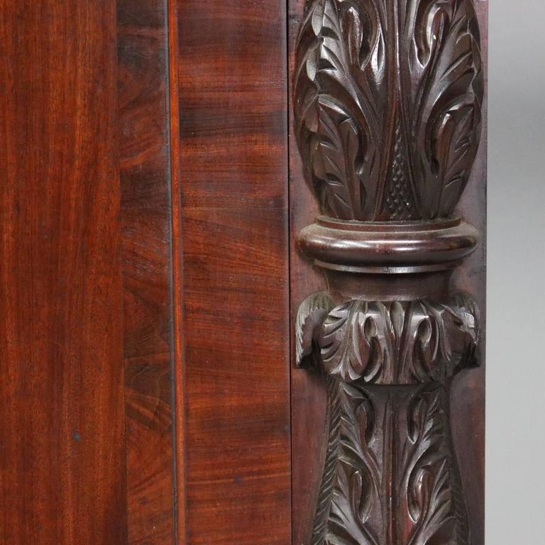 Antique carved flame mahogany jackson press sideboard or
