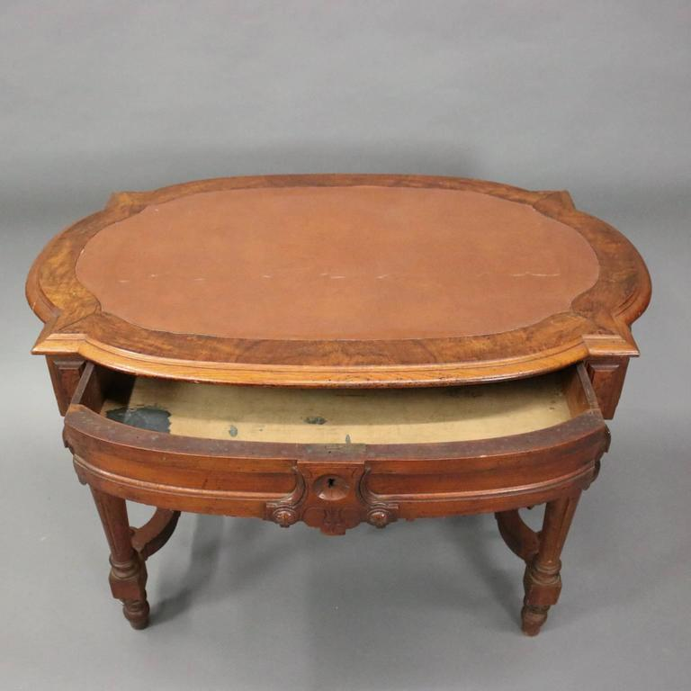 Antique Renaissance Revival Walnut Burl And Leather