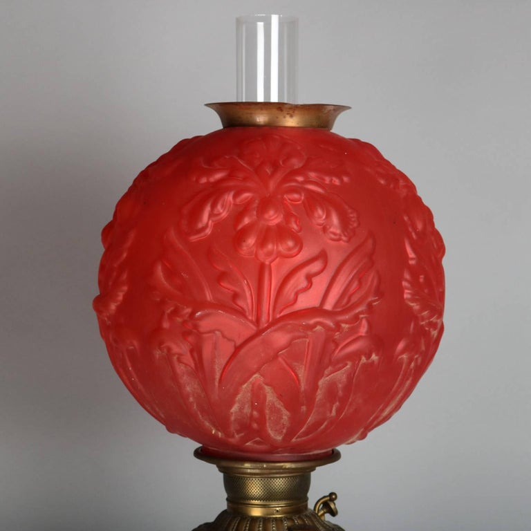 Cast Antique and Large Onyx, Bronze Parlor Lamp W/Ruby Satin Glass Globe, circa 1880 For Sale