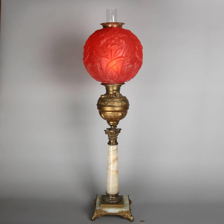 Victorian Antique and Large Onyx, Bronze Parlor Lamp W/Ruby Satin Glass Globe, circa 1880 For Sale
