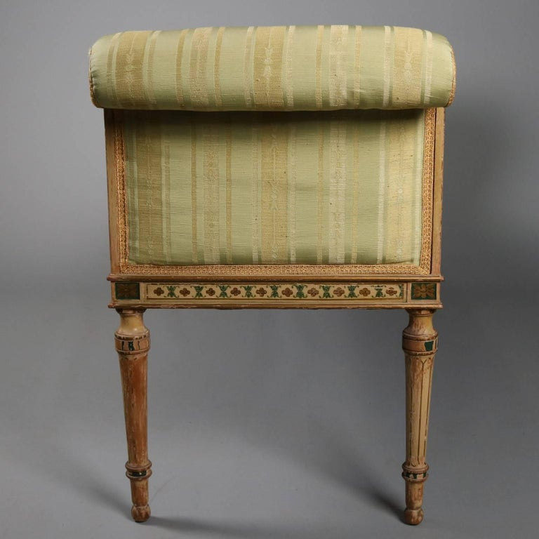 Antique Continental Venetian Hand-Painted & Upholstered Window Bench 3