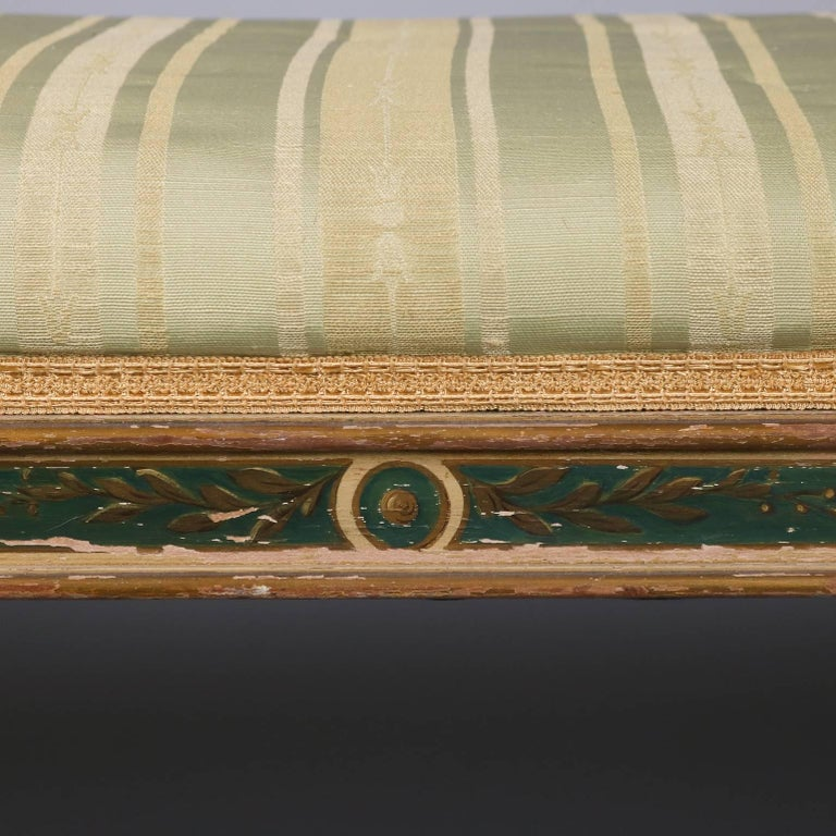 Antique Continental Venetian Hand-Painted & Upholstered Window Bench 6