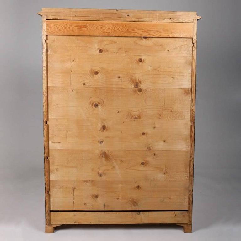 Wood Antique Biedermeier Inlaid Drop Front Secretary, 19th Century For Sale