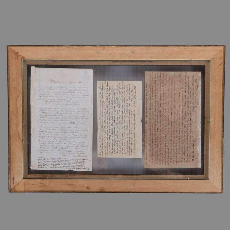 Collection of Antique Civil War Letters in Dual Sided Frame, 19th Century 2