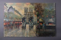 French Impressionist Oil on Canvas Cityscape Paris Street Scene by M Pastele