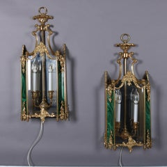 French Style Gilt Bronze and Faux Malachite Panelled Mirrored Wall Sconces, Pair